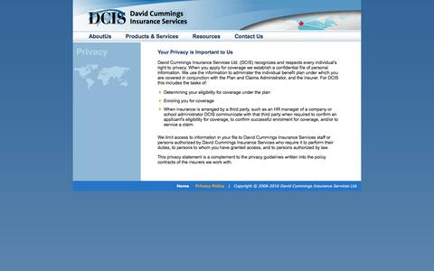 Screenshot of Privacy Page david-cummings.com - DCIS - Health & Travel Insurance Specialists - Contact Us - captured Feb. 8, 2016