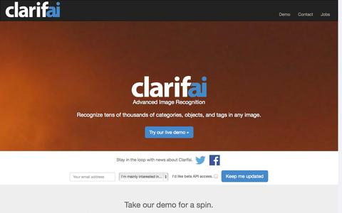 Screenshot of Home Page clarifai.com - Clarifai: Advanced Image Recognition - captured Sept. 22, 2014
