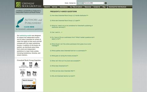 Screenshot of FAQ Page greenleafbookgroup.com - Answers to all things Greenleaf including publishing, marketing, and distribution. | FAQs | Greenleaf Book Group LLC - captured Sept. 16, 2014