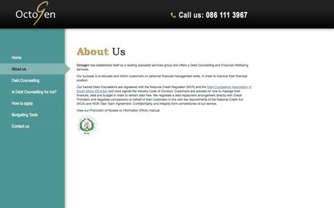 Screenshot of About Page octogen.co.za - Octogen   About us - captured Oct. 27, 2014