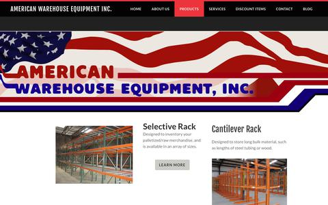 Screenshot of Products Page aweonline.com - Products - American WareHouse Equipment Inc. - captured Oct. 8, 2017