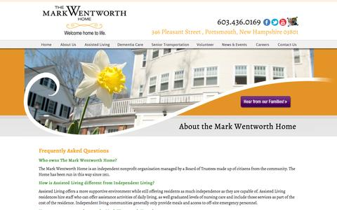 Screenshot of FAQ Page markwentworth.org - Assisted Living Facility FAQ Seacoast NH, Aging in Place Facility - captured Oct. 6, 2014