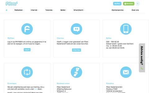 Screenshot of Contact Page fiber.nl - Contact opnemen met Fiber Nederland - captured Nov. 25, 2016