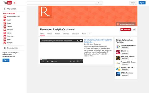 Screenshot of YouTube Page youtube.com - Revolution Analytics's channel  - YouTube - captured Oct. 22, 2014