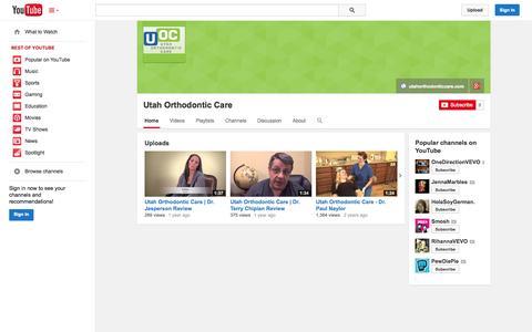 Screenshot of YouTube Page youtube.com - Utah Orthodontic Care  - YouTube - captured Oct. 26, 2014