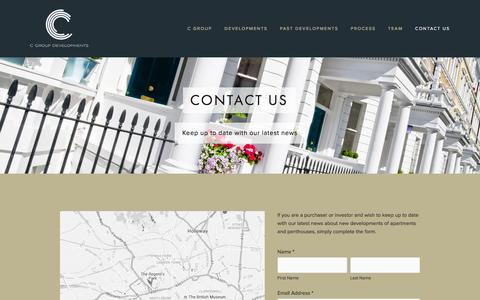 Screenshot of Contact Page cgroupdevelopments.com - Contact Us Ń C Group Developments - captured Dec. 5, 2015