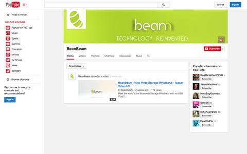 Screenshot of YouTube Page youtube.com - BeanBeam  - YouTube - captured Oct. 25, 2014