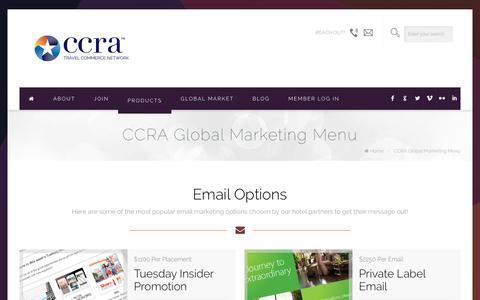 Screenshot of Menu Page ccra.com - CCRA Global Marketing Menu - CCRA Travel Commerce NetworkCCRA Travel Commerce Network - captured Jan. 22, 2016