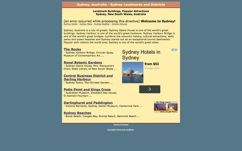 Screenshot of Home Page sydney-landmarks.com - Sydney, Australia - Sydney Landmarks and Districts - captured May 23, 2016