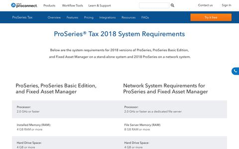 Screenshot of intuit.com - ProSeries Professional Tax 2017 System Requirements - captured April 24, 2018