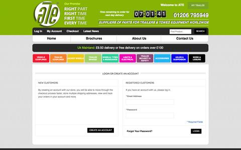 Screenshot of Login Page ate-uk.com - Customer Login | ATE UK - captured Oct. 4, 2014