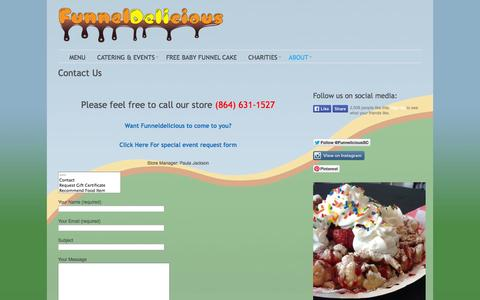 Screenshot of Contact Page funneldelicious.com - Funneldelicious -   Contact Us - captured Sept. 30, 2014
