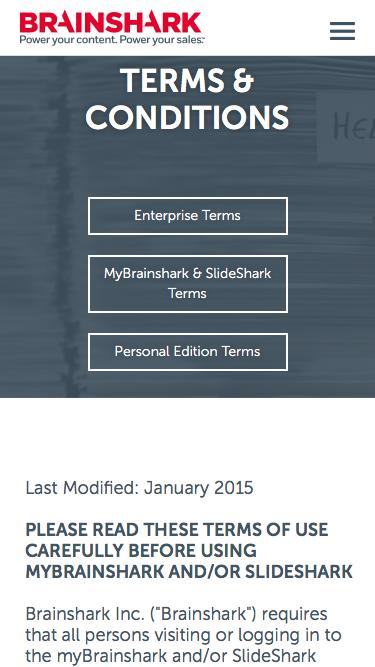 Screenshot of Support Page  brainshark.com - myBrainshark & SlideShark Terms of Use | Brainshark