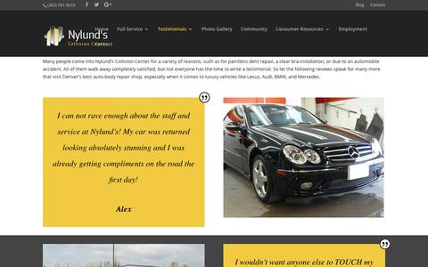 Screenshot of Testimonials Page nylundscollision.com - Testimonials from Nylund's Wonderful Guests! - captured Oct. 18, 2018