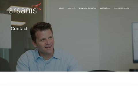Screenshot of Contact Page arsanis.com - contact – Arsanis - captured Oct. 19, 2018
