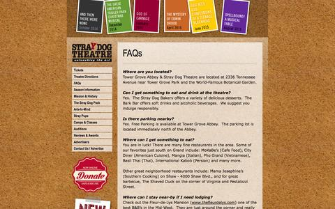 Screenshot of FAQ Page straydogtheatre.org - Stray Dog Theatre | FAQs - captured Oct. 9, 2014