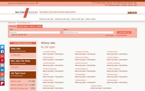 Screenshot of Jobs Page militarycrossing.com - Military Jobs, Browse Jobs in Military By Job Type, City, State in United States   MilitaryCrossing.com - captured Jan. 10, 2016