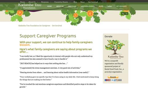 Screenshot of Support Page kadambatree.org - Support Caregiver Programs | Kadamba Tree Foundation for Caregivers - captured Feb. 12, 2016