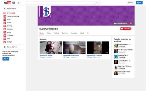Screenshot of YouTube Page youtube.com - SuperLifeIncome  - YouTube - captured Nov. 5, 2014