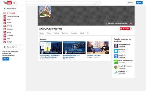 Screenshot of YouTube Page youtube.com - a COUPLE of GURUS  - YouTube - captured Oct. 23, 2014