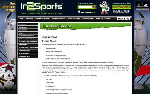 Screenshot of Support Page in2sports.ca - Customer Service - Order Information - In2Sports - captured Sept. 23, 2014