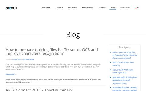Screenshot of Blog pretius.com - Pretius Blog on web applications, Java, Oracle Apex, AngularJS and other software related issues - captured July 15, 2016