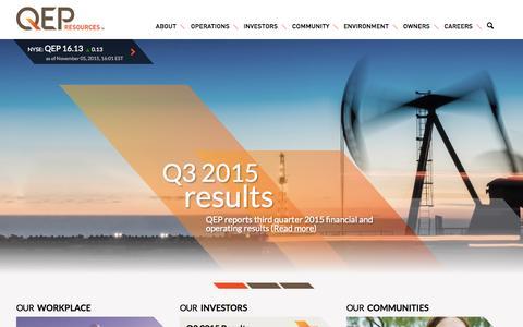 Screenshot of Home Page qepres.com - Home - QEP Resources, Inc. - captured Nov. 5, 2015