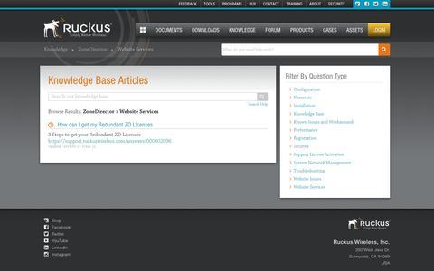 Screenshot of Support Page ruckuswireless.com - ZoneDirector | Knowledge Base | Ruckus Wireless Support - captured Dec. 12, 2016