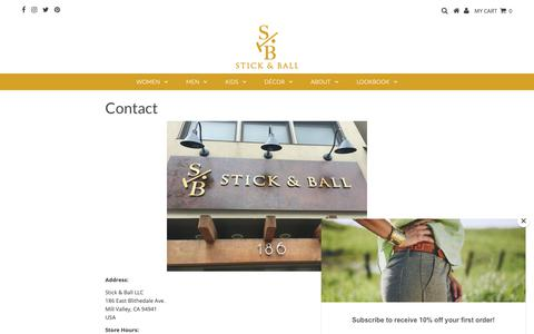 Screenshot of Contact Page stickandballco.com - Contact | Find Stick & Ball online and in stores | Stick & Ball Co. - captured Oct. 18, 2018