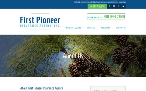 Screenshot of About Page pioneerinsurance.com - About First Pioneer Insurance Agency   North Carolina - captured Dec. 19, 2018