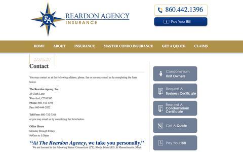 Screenshot of Contact Page reardonagency.com - CT, MA & RI Insurance Agency   Reardon Agency - captured Nov. 4, 2014