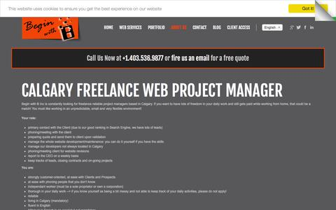 Screenshot of Jobs Page beginwithb.com - Calgary freelance web project manager | Careers - captured July 28, 2016