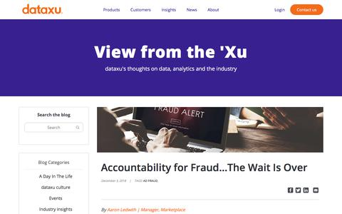 Screenshot of Blog dataxu.com - Accountability for Fraud...The Wait Is Over - dataxu, inc. - captured Nov. 18, 2019