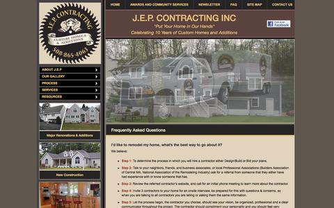 Screenshot of FAQ Page jepcontracting.com - Frequently Asked Questions - J.E.P. Contracting Inc - captured Oct. 3, 2014