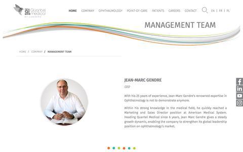 Screenshot of Team Page quantel-medical.com - Management Team - captured Sept. 16, 2019