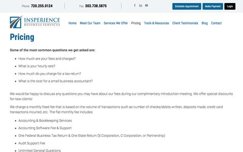 Screenshot of Pricing Page insperience.com - Accounting & Consulting services price list | Littleton, CO | Insperience Business Services - captured July 10, 2018