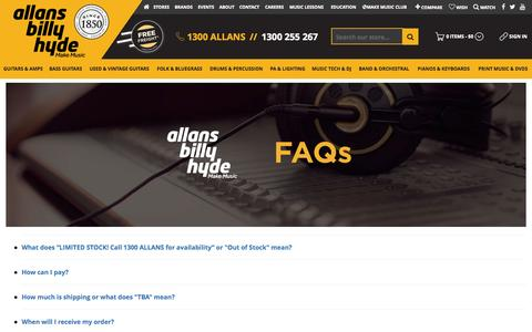 Screenshot of FAQ Page allansbillyhyde.com.au - Frequently Asked Questions   Allans Billy Hyde Online - captured Oct. 1, 2015