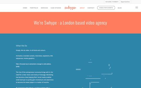 Screenshot of About Page swhype.com - Video Content Company and Animation London UK | Swhype - captured Sept. 21, 2018