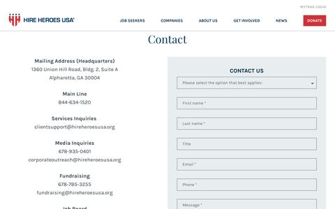 Screenshot of Contact Page hireheroesusa.org - Contact - Hire Heroes USA - captured Feb. 9, 2020