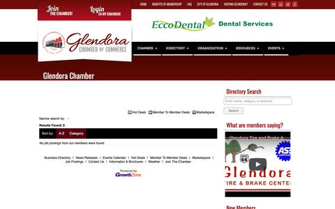 Screenshot of Jobs Page glendora-chamber.org - Job Search - Glendora Chamber of Commerce | Promote... Connect... Grow... - captured Sept. 28, 2018