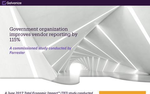 Screenshot of Landing Page wegalvanize.com - The Total Economic Impact™ of HighBond by Galvanize on a US-based international bank - captured Nov. 29, 2019
