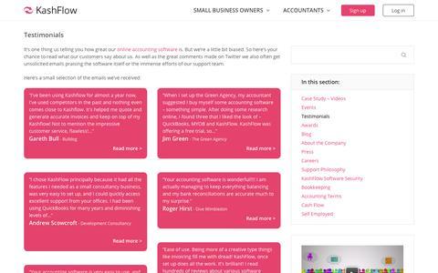 Screenshot of Testimonials Page kashflow.com - Testimonials - KashFlow - captured Oct. 20, 2015