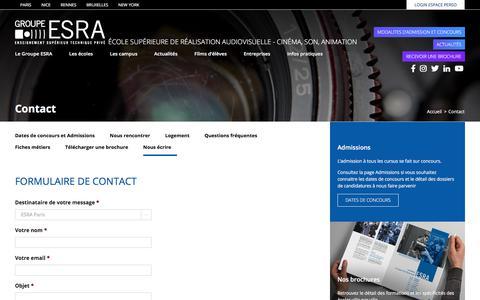 Screenshot of Contact Page esra.edu - Contact - Groupe ESRA, Ecole de Cinéma, Son et Animation - captured July 15, 2018
