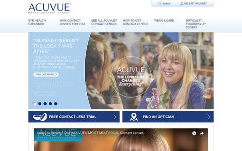 Screenshot of Home Page acuvue.co.uk - Get Clear & Comfortable Vision with Contact Lenses - ACUVUE® - captured Jan. 5, 2018