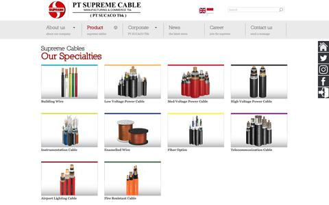 Screenshot of Products Page sucaco.com - PT SUCACO Tbk | Supreme Cable Manufacturing & Commerce - captured Sept. 26, 2018