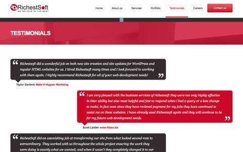 Screenshot of Testimonials Page richestsoft.com - Richestsoft Clients Review and TestimonialRichestsoft - captured Jan. 13, 2016
