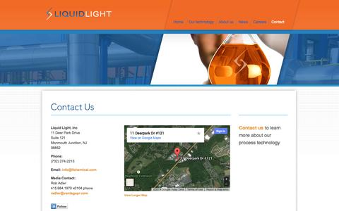 Screenshot of Contact Page llchemical.com - Liquid Light | Make carbon dioxide a practical feedstock for multi-carbon chemicals - captured Sept. 16, 2014