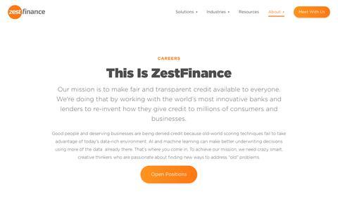 Screenshot of Jobs Page zestfinance.com - Careers | ZestFinance - captured Oct. 8, 2018