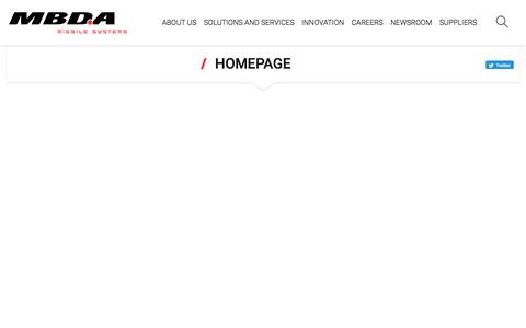 Screenshot of Home Page mbda-systems.com - MBDA - Excellence at your side - captured July 30, 2019