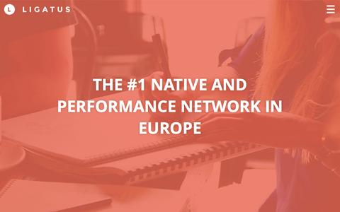 Screenshot of Home Page ligatus.com - Ligatus | THE #1 NATIVE AND PERFORMANCE NETWORK IN EUROPE - captured Dec. 2, 2015